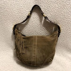 COACH Suede Leather Hobo Shoulder Bag.